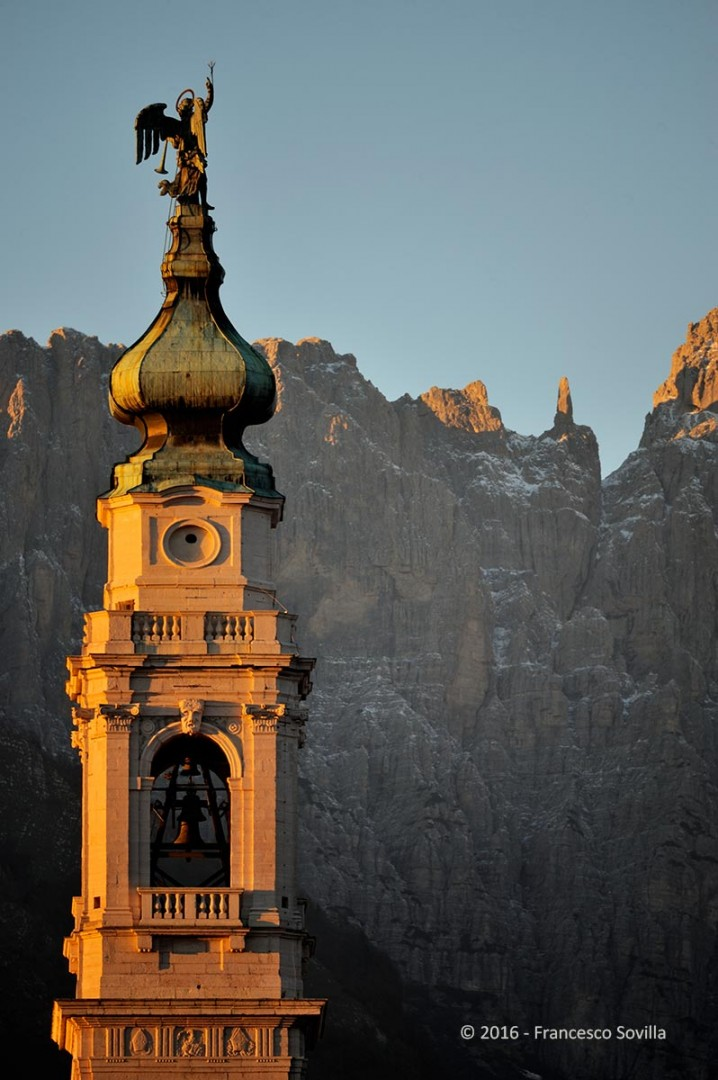 Bell tower with Schiara behind