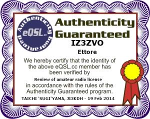Autenticity guaranteed IZ3ZVO