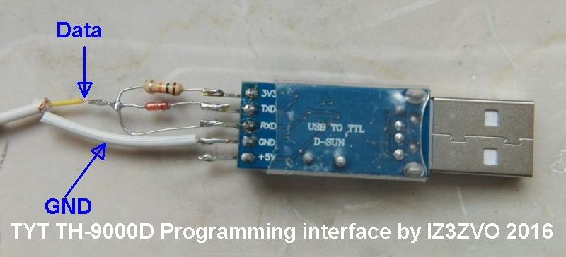 TYT TH-9000D programming interface homebrew with Prolific PL2303 or CP2102